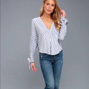 Free People Morning Solid Blue & White Striped Top